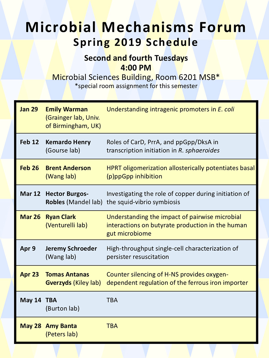 image of Microbial Mechanisms Forum 2019 spring semester schedule